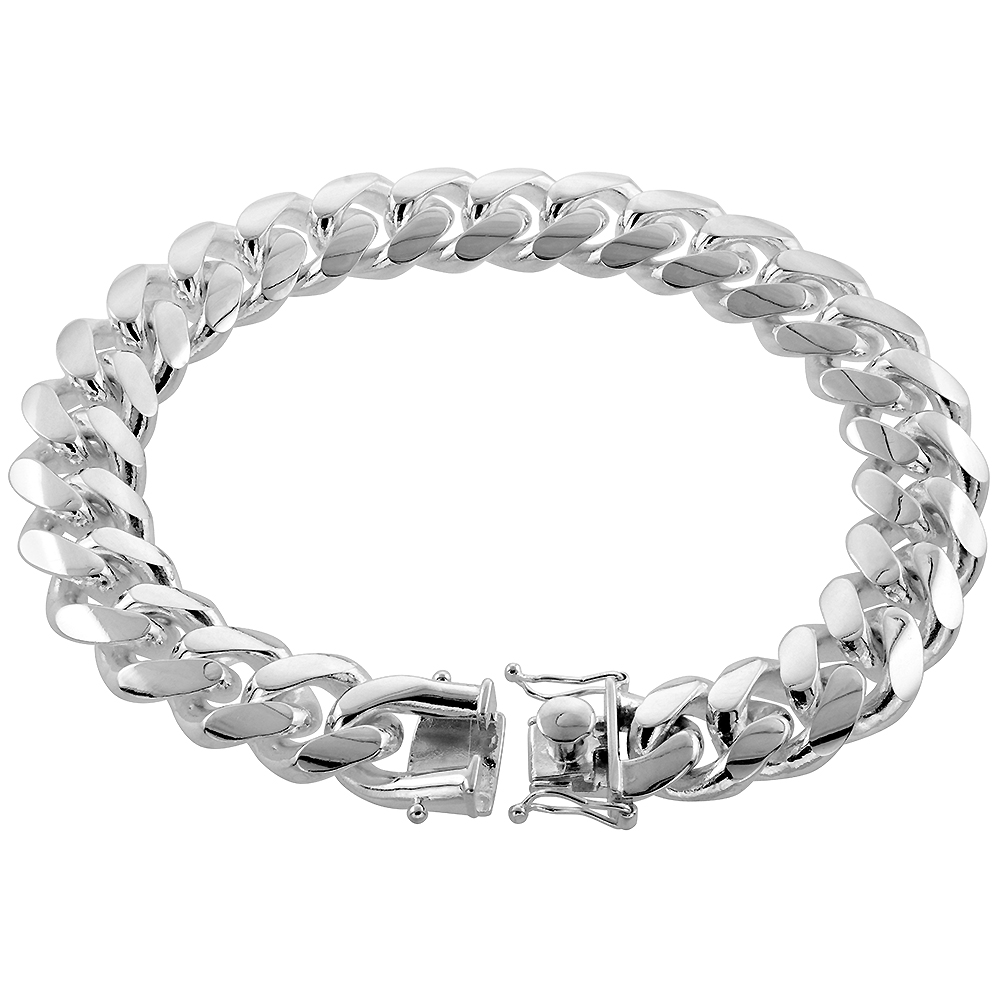 Very Thick Heavy Sterling Silver 15mm Miami Cuban Link Chain Bracelet Box Clasp with Safety for Men Domed sizes 8-9-10 inch