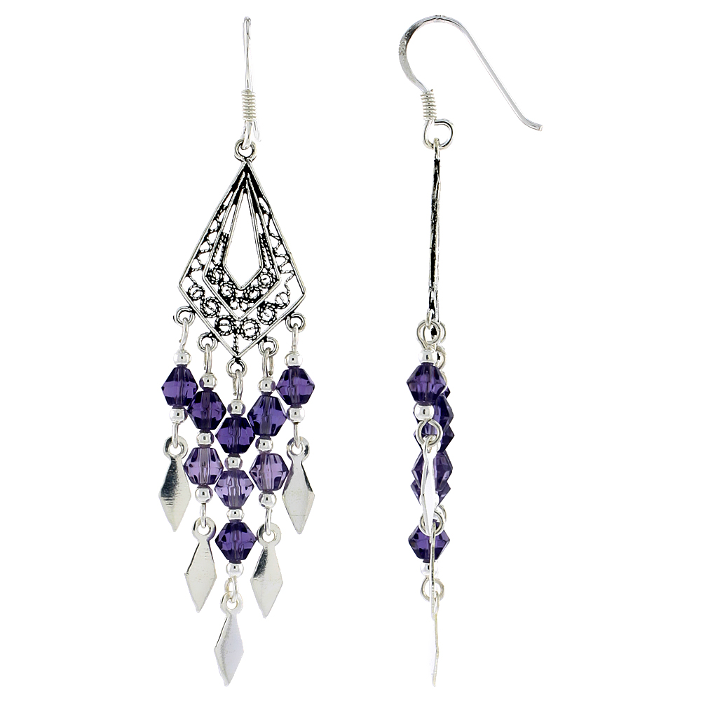 Sterling Silver Triangular Chandelier Dangle Earrings Purple Crystals, 2 3/8 inches long