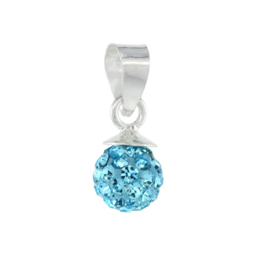Sterling Silver Aquamarine Crystal Ball Pendants 6mm