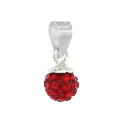 Sterling Silver Ruby Crystal Ball Pendants 6mm