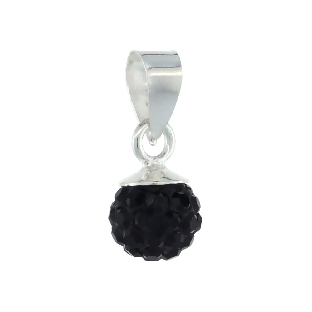 Sterling Silver Black Crystal Ball Pendants 6mm