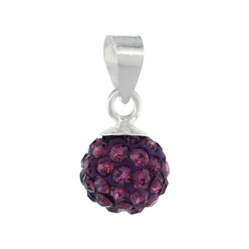 Sterling Silver Amethyst Crystal Ball Pendants 8mm