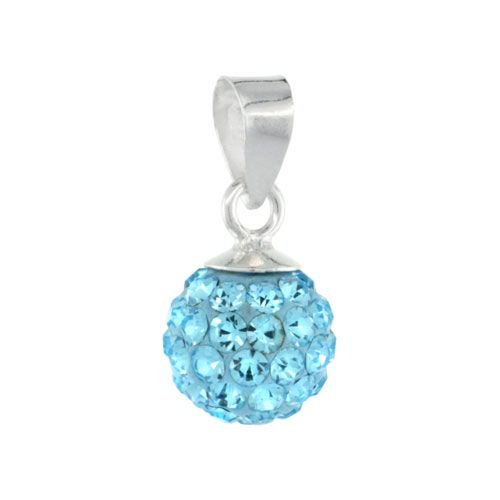 Sterling Silver Aquamarine Crystal Ball Pendants 8mm