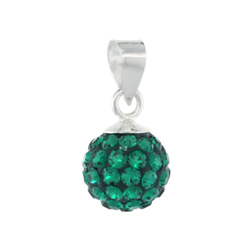 Sterling Silver Emerald Crystal Ball Pendants 8mm