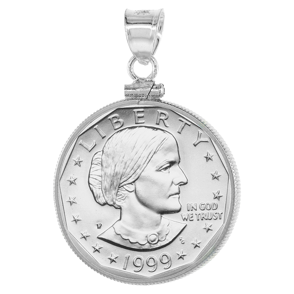 Sterling Silver Susan B. Anthony Bezel Sacagawea Screw Top Coin Edge 26 mm Coins 1979-Present Coin NOT Included