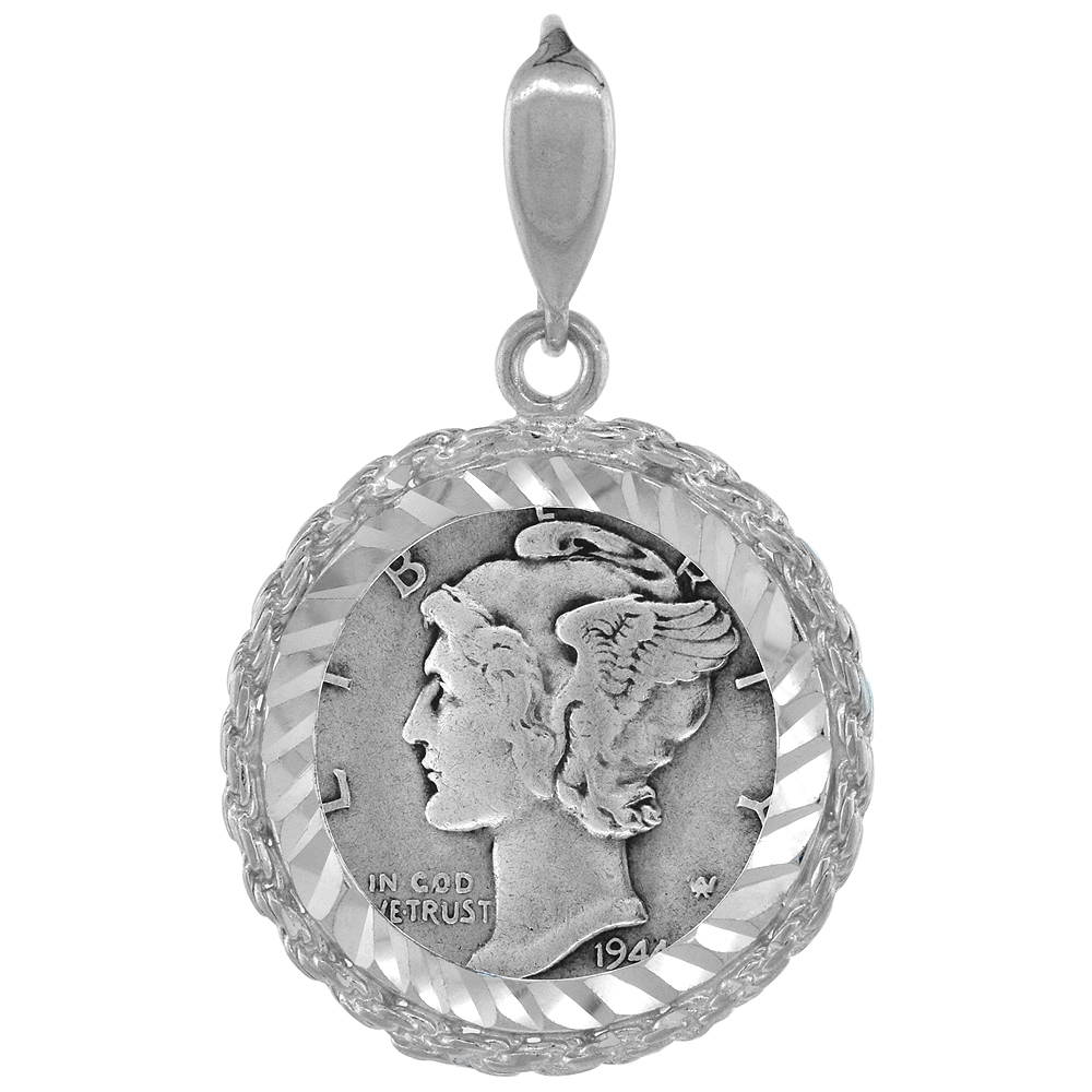 Sterling Silver 18 mm Dime (10 Cents) Coin Frame Bezel Pendant w/ Rope Edge Design (Coin is NOT Included)