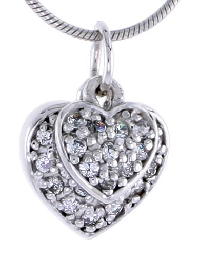 Sterling Silver Jeweled Heart Pendant, w/ CZ Stones, 1/2 in. (13 mm) tall