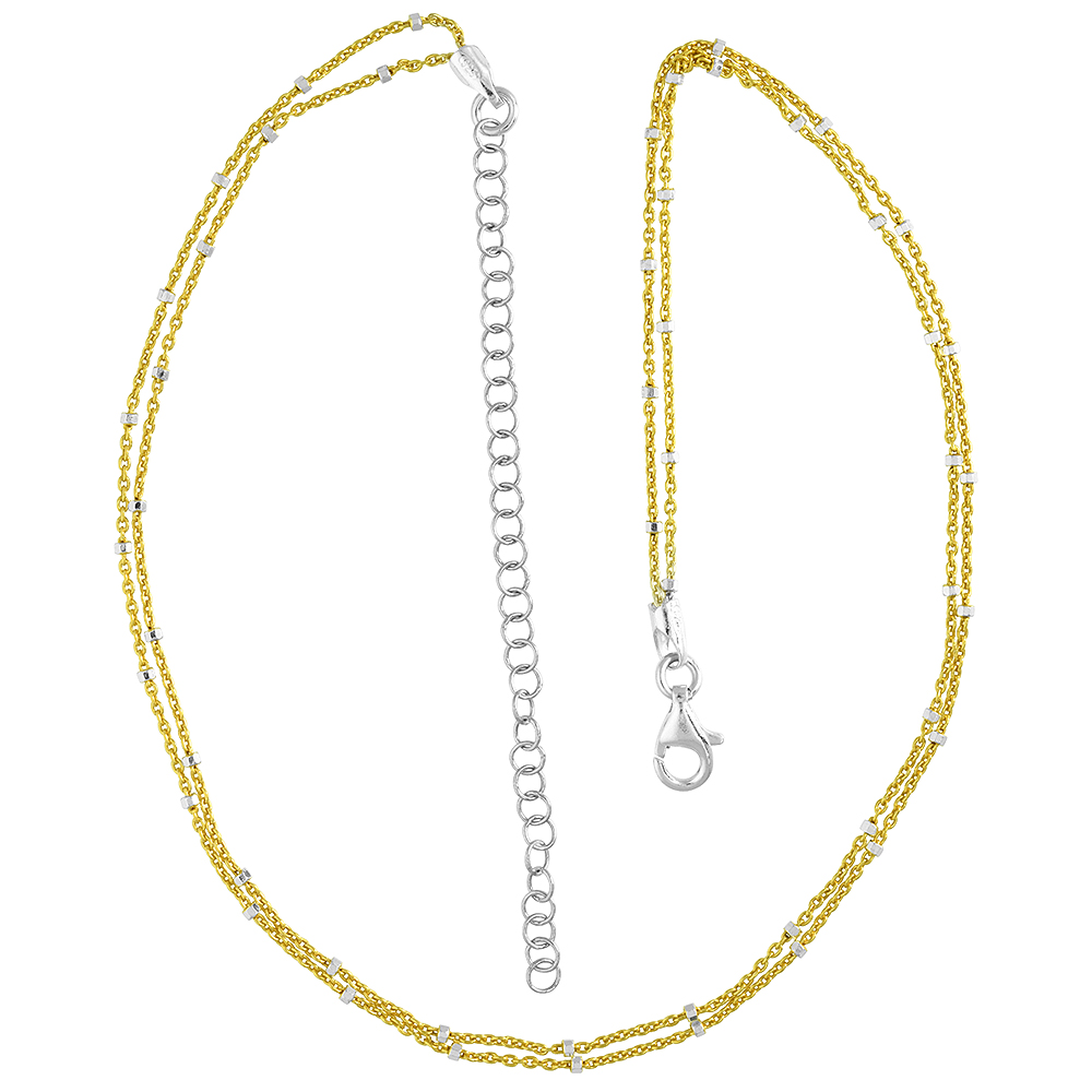 Sterling Silver 2 Strand Choker Chain Faceted Station Beads Gold Plated 2 tone 12 inch + 3 inch extension