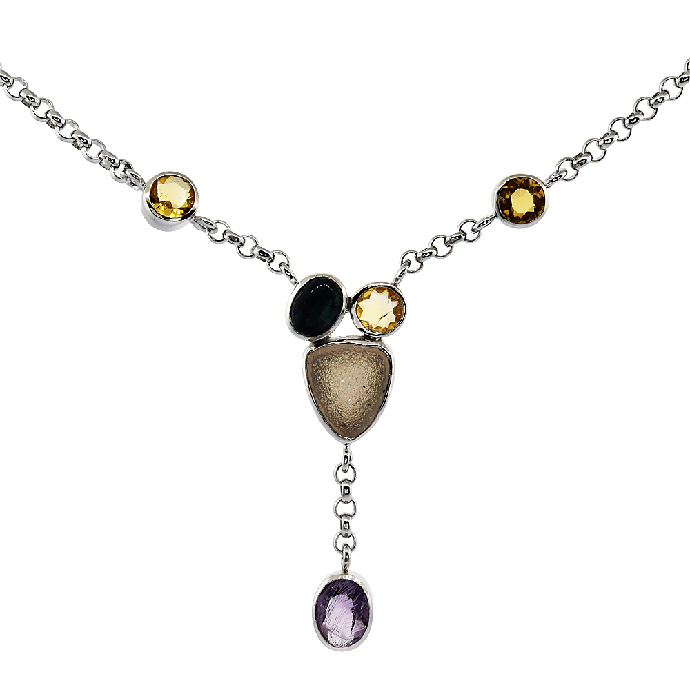 Sterling Silver Cream Druzy Rolo Necklace Amethyst, Citrine, Blue Agate Accents, 16 inches long