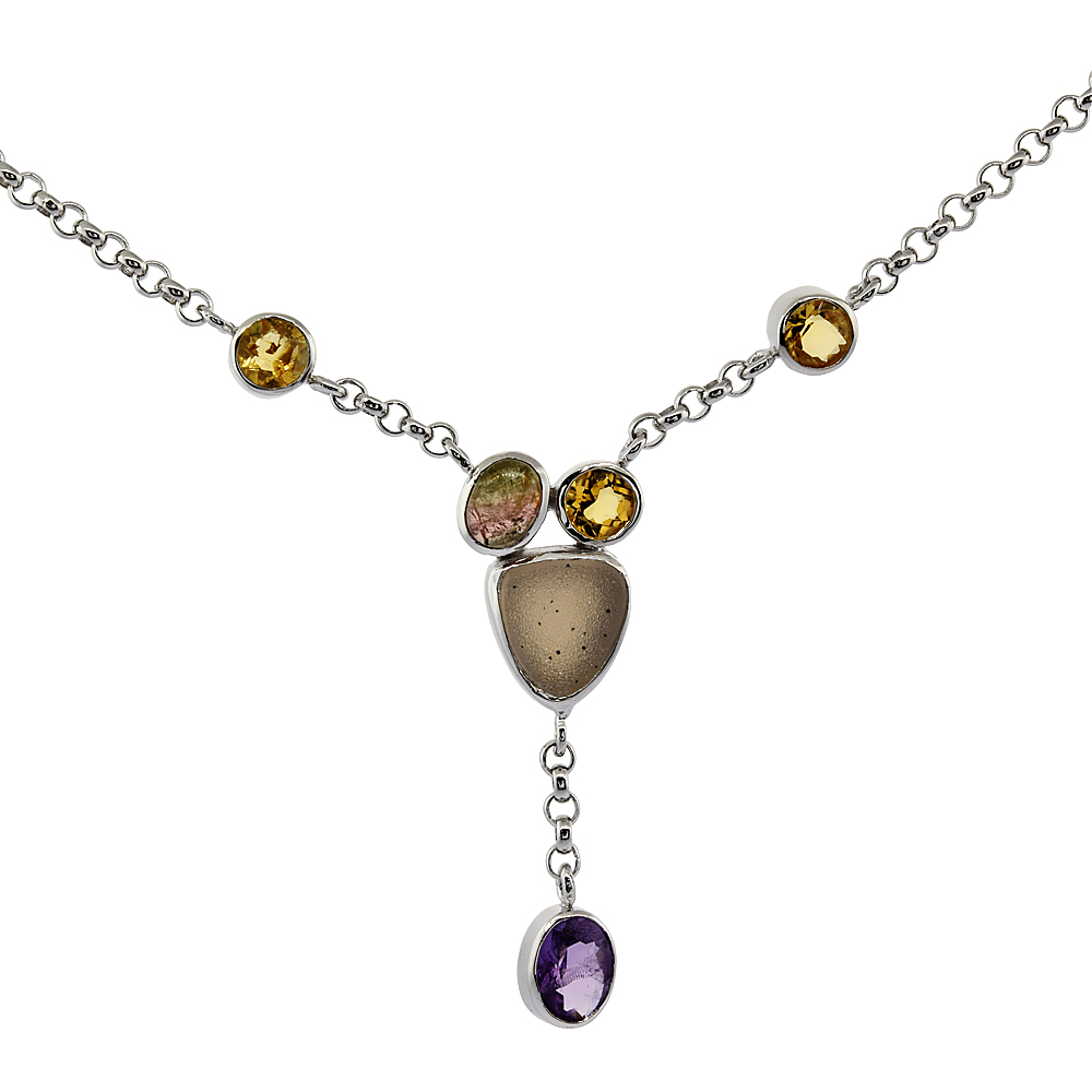Sterling Silver Cream Druzy Rolo Necklace Amethyst, Citrine, Pink Agate Accents, 16 inches long