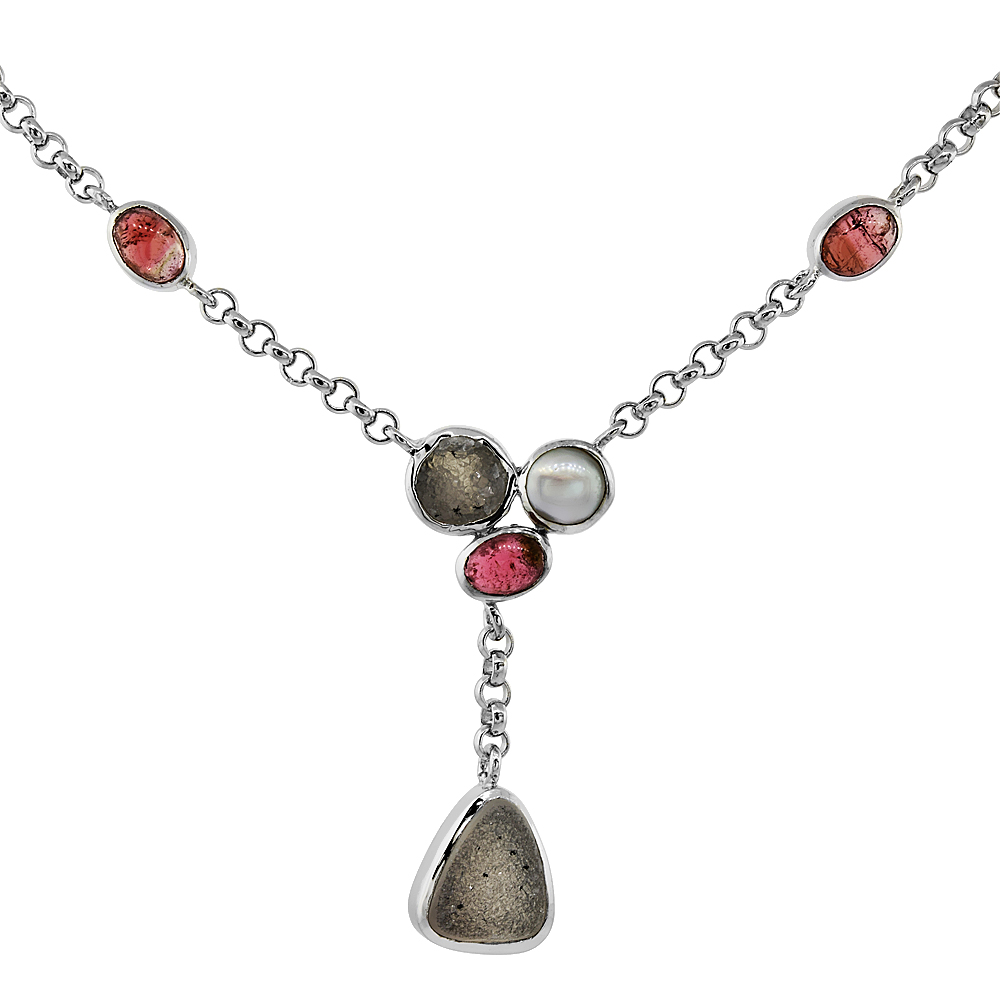 Sterling Silver Gray Druzy Rolo Toggle Necklace Pink Agate, White Pearl Accents, 16 inches long