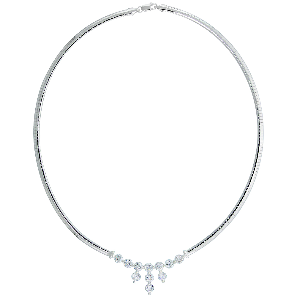 Sterling Silver 4mm Cubetto Necklace with Drop Cubic Zirconia, 16 inch long