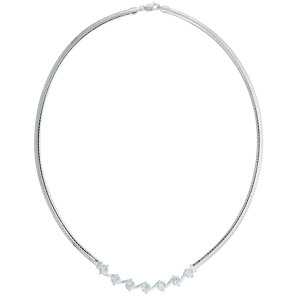 Sterling Silver 4mm Cubetto Necklace with Linked Cubic Zirconia, 16 inch long