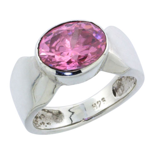 Sterling Silver Oval Cubic Zirconia Ring, 10x8mm Pink Stone, 11/32 inch