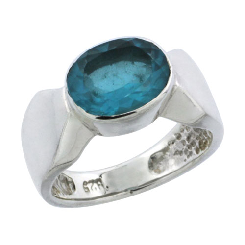 Sterling Silver Oval Cubic Zirconia Ring, 10x8mm London Blue Topaz Color Stone, 11/32 inch