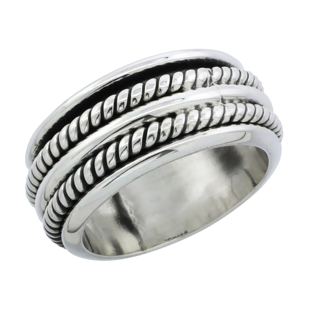 Sterling Silver Double Rope Spinner Ring Band, 3/8 inch