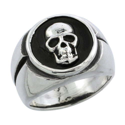 Sterling Silver Skull Biker Ring, 5/8 inch