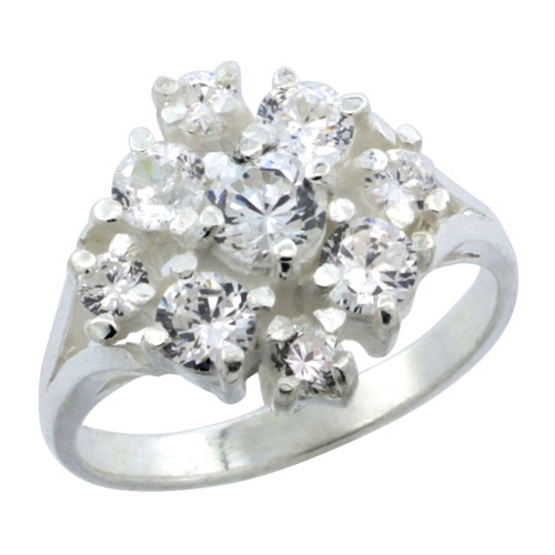 Sterling Silver Snowflake Cubic Zirconia Ring, 5/8 inch