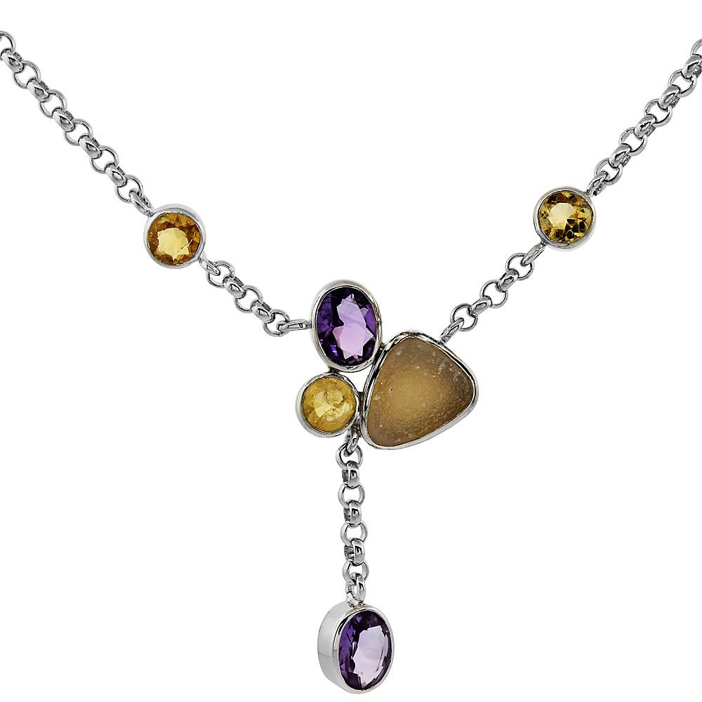 Sterling Silver Cream Druzy Rolo Necklace Amethyst, Citrine Accents, 16 inches long