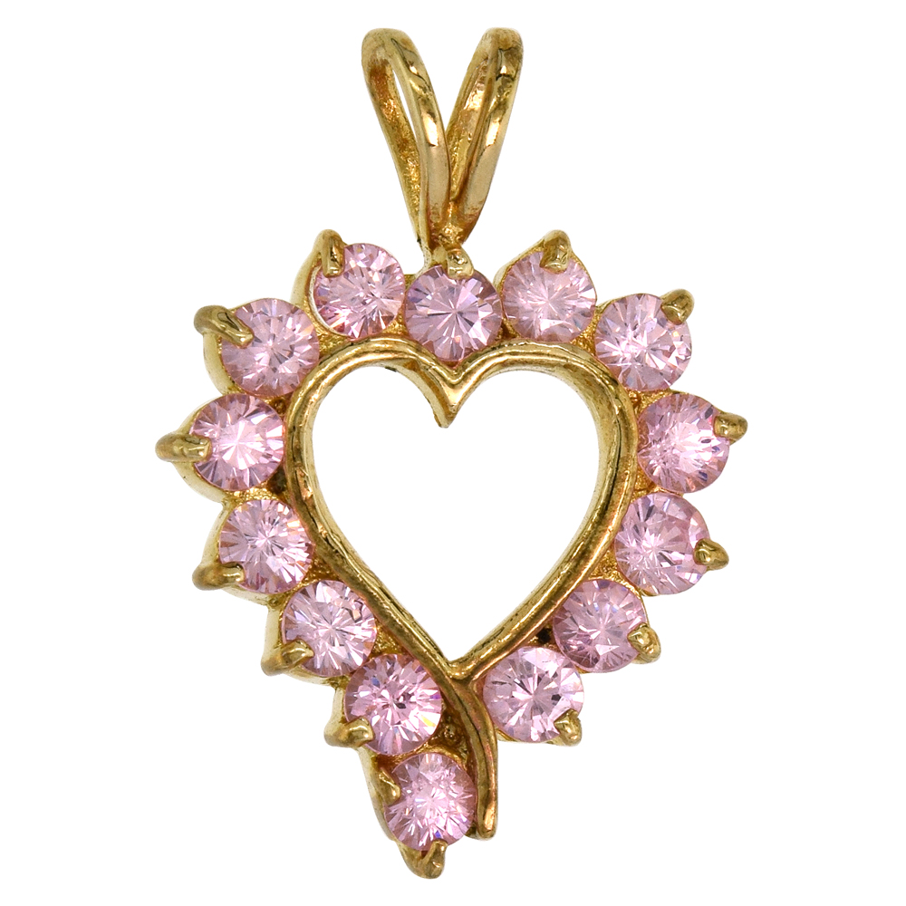 Sterling Silver Open Heart Pendant Yellow Plated Pink Cubic Zirconia Accents, 3/4 inch wide