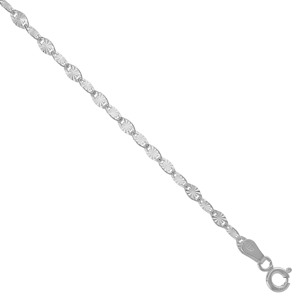 Sterling Silver Diamond Cut Flat Link Anchor Chain 3 mm Thin Nickel Free Italy, sizes 16 & 18 inch