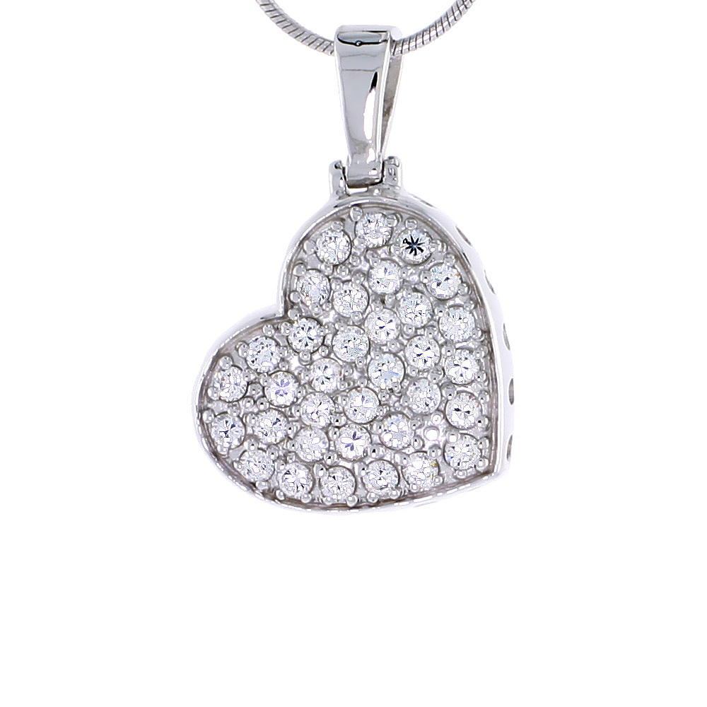 "Sterling Silver Jeweled Heart Pendant, w/ Cubic Zirconia stones, 13/16"" (21 mm) tall"