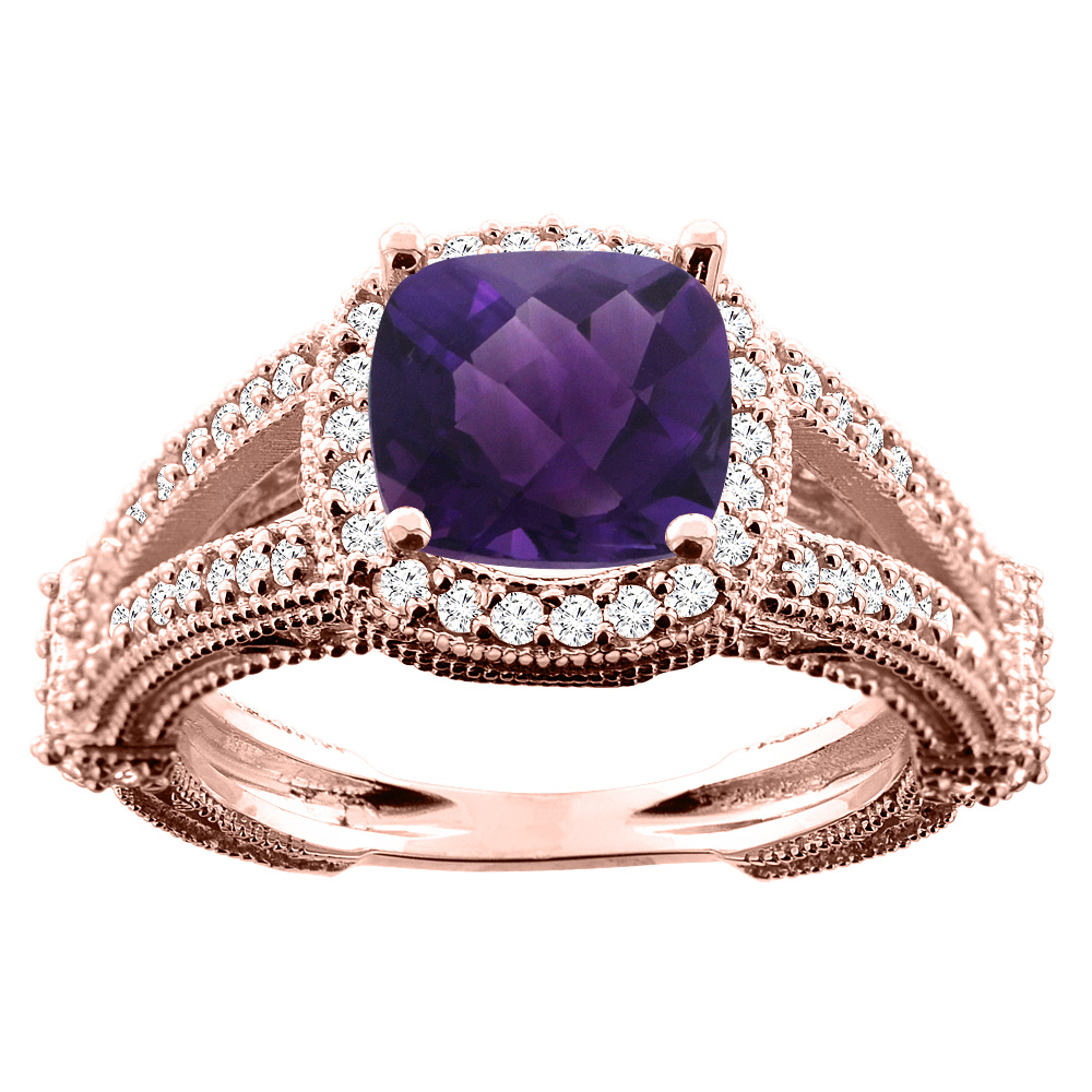 10K White/Yellow/Rose Gold Natural Amethyst Cushion 8x8mm Diamond Accent 3/8 inch wide, sizes 5 - 10