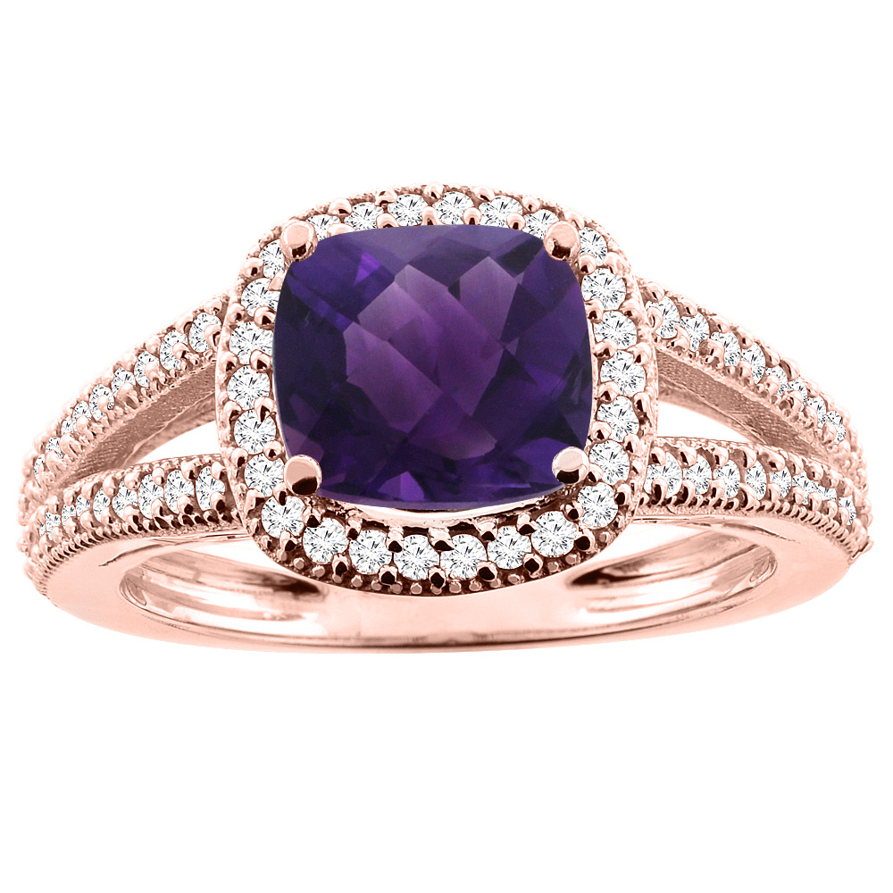 10K Rose Gold Natural Amethyst Ring Cushion 7x7mm Diamond Accent 3/8 inch wide, sizes 5 - 10