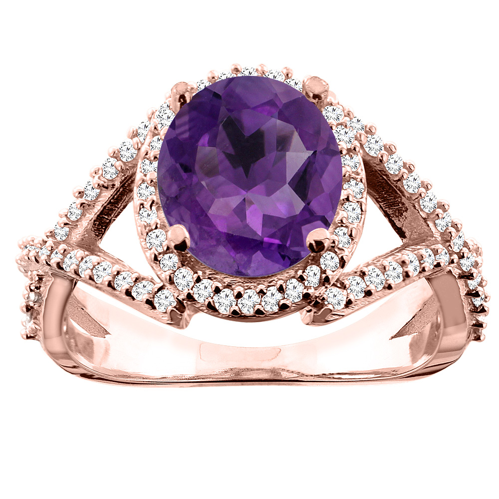 10K White/Yellow/Rose Gold Natural Amethyst Ring Oval 9x7mm Diamond Accent, size 5