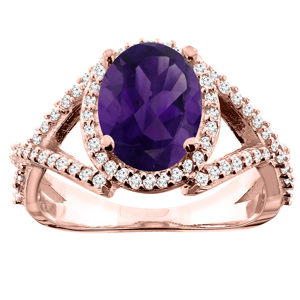10K White/Yellow/Rose Gold Natural Amethyst Ring Oval 10x8mm Diamond Accent, sizes 5 - 10