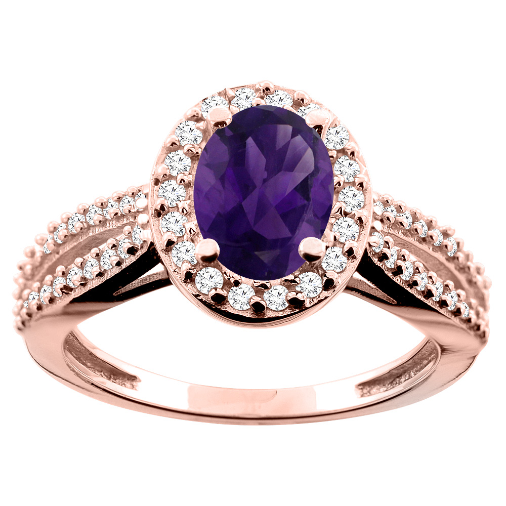 10K White/Yellow/Rose Gold Natural Amethyst Ring Oval 8x6mm Diamond Accent, size 5