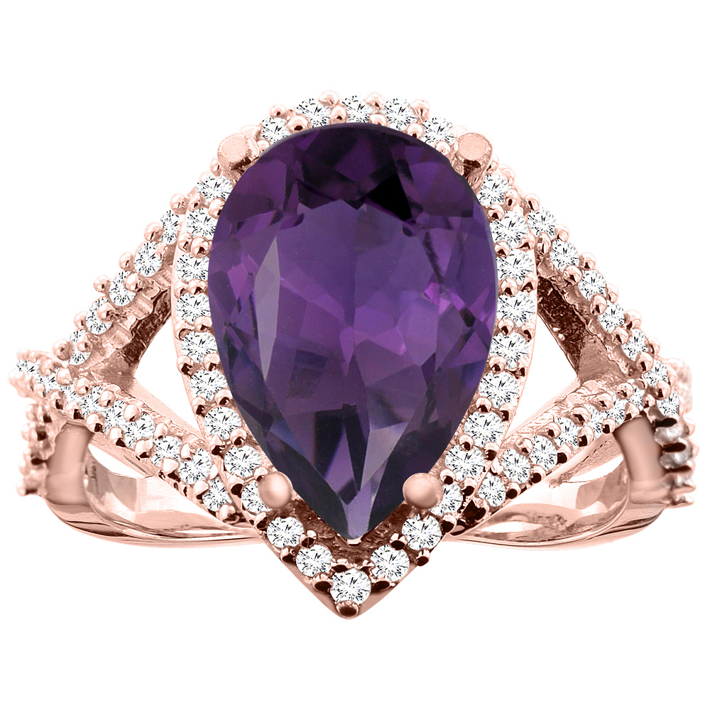 10K White/Yellow/Rose Gold Natural Amethyst Ring Pear 12X8mm Diamond Accent, size 5