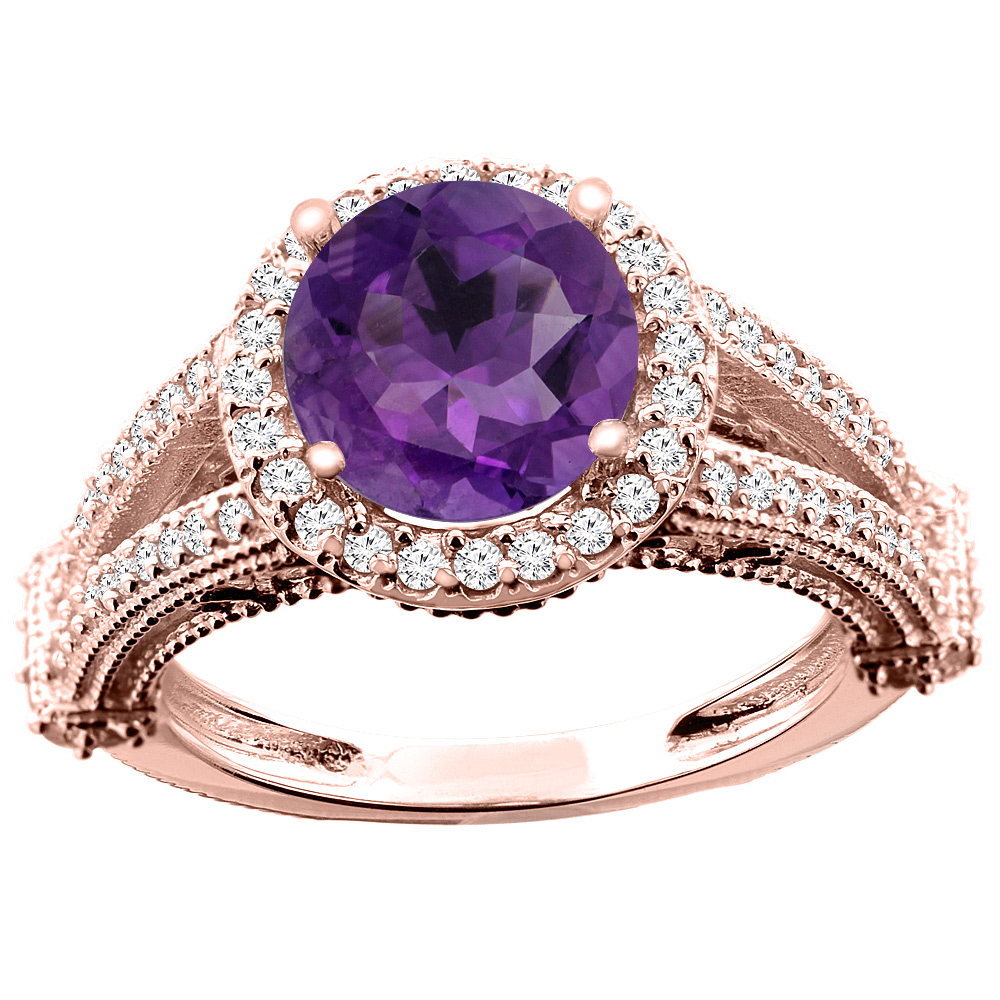 10K White/Yellow/Rose Gold Natural Amethyst Ring Round 8mm Diamond Accent, sizes 5 - 10