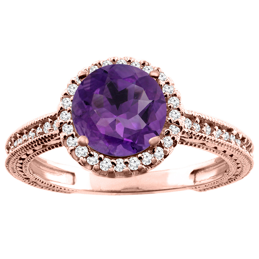 10K White/Yellow/Rose Gold Natural Amethyst Ring Round 7mm Diamond Accent, sizes 5 - 10
