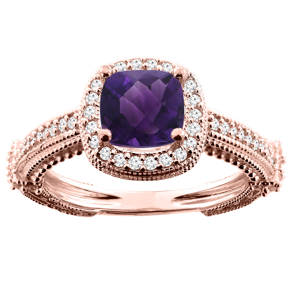10K White/Yellow/Rose Gold Natural Amethyst Ring Cushion 7x7mm Diamond Accent, sizes 5 - 10