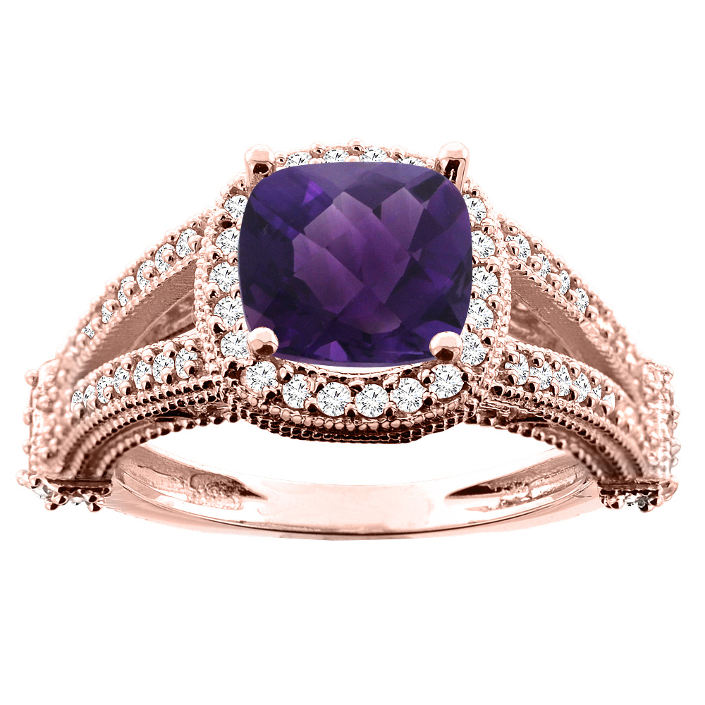 10K White/Yellow/Rose Gold Natural Amethyst Split Shank Ring Cushion 7x7mm Diamond Accent, sizes 5 - 10