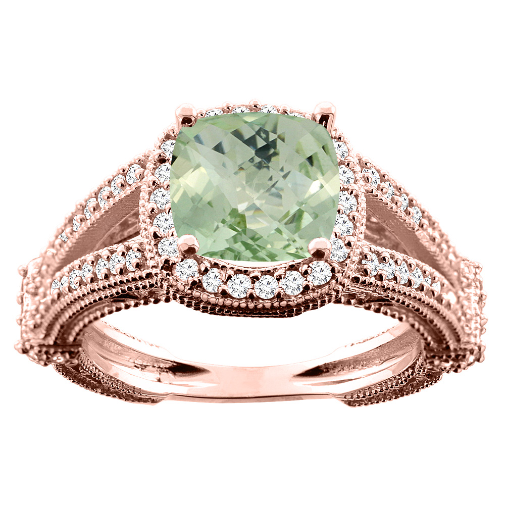 14K White/Yellow/Rose Gold Natural Green Amethyst Cushion 8x8mm Diamond Accent 3/8 inch wide, sizes 5 - 10