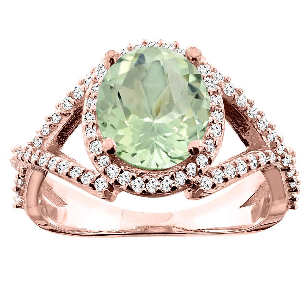 14K White/Yellow/Rose Gold Natural Green Amethyst Ring Oval 9x7mm Diamond Accent, size 5