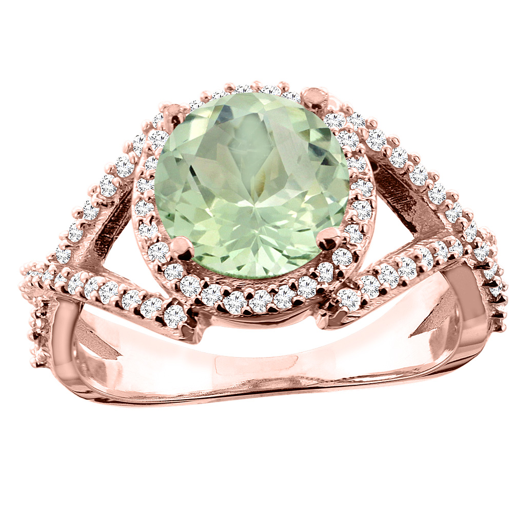14K White/Yellow/Rose Gold Natural Green Amethyst Ring Round 8mm Diamond Accent, size 5