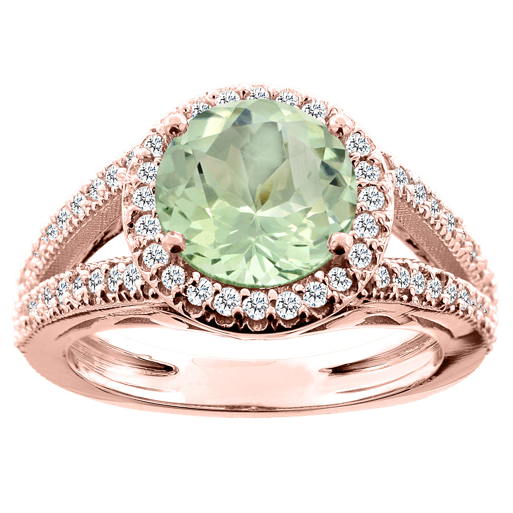 14K White/Yellow/Rose Gold Natural Green Amethyst Ring Round 8mm Diamond Accent, sizes 5 - 10