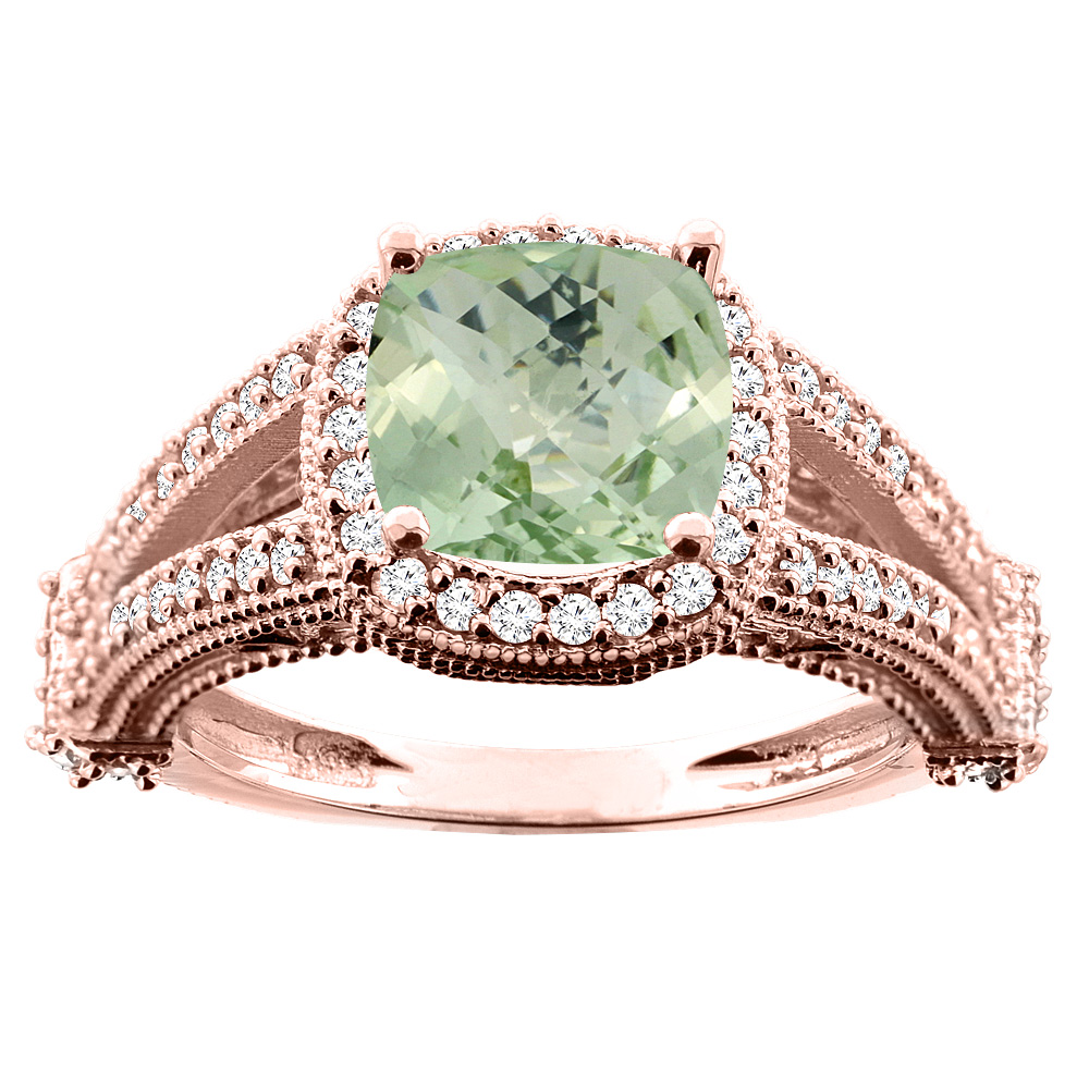 14K White/Yellow/Rose Gold Natural Green Amethyst Split Shank Ring Cushion 7x7mm Diamond Accent, sizes 5 - 10
