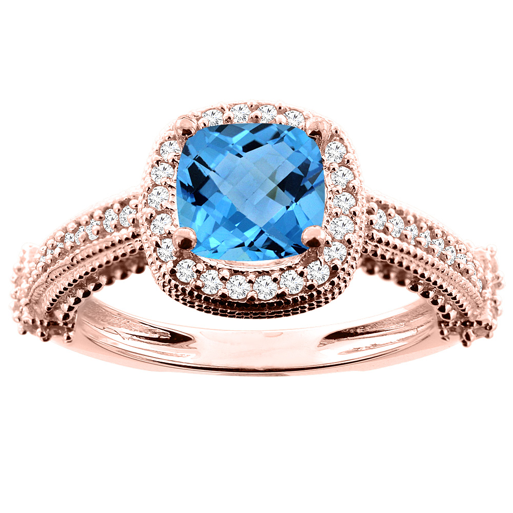 14K White/Yellow/Rose Gold Natural Swiss Blue Topaz Ring Cushion 7x7mm Diamond Accent 7/16 inch wide, size 5