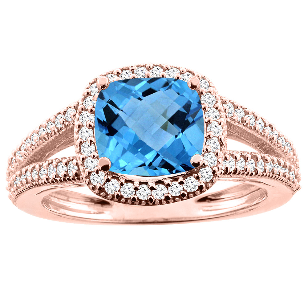 14K Rose Gold Natural Swiss Blue Topaz Ring Cushion 7x7mm Diamond Accent 3/8 inch wide, sizes 5 - 10