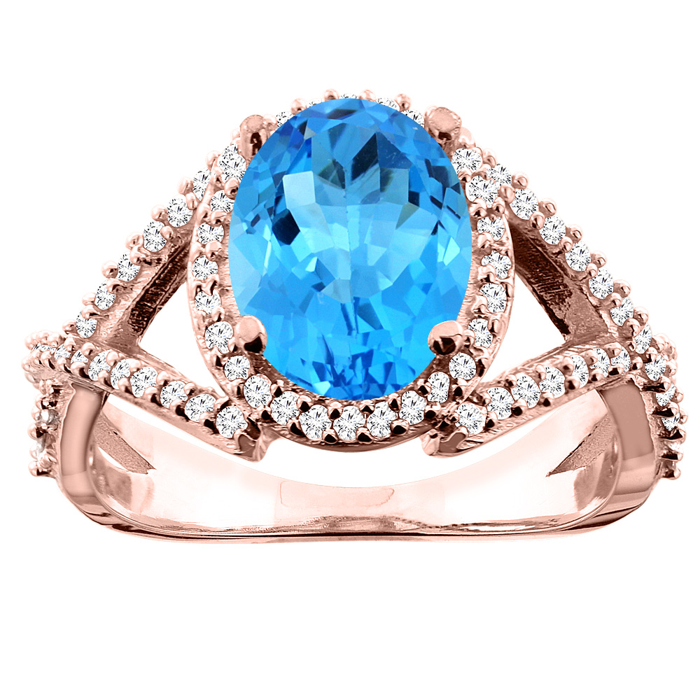 14K White/Yellow/Rose Gold Natural Swiss Blue Topaz Ring Oval 10x8mm Diamond Accent, sizes 5 - 10