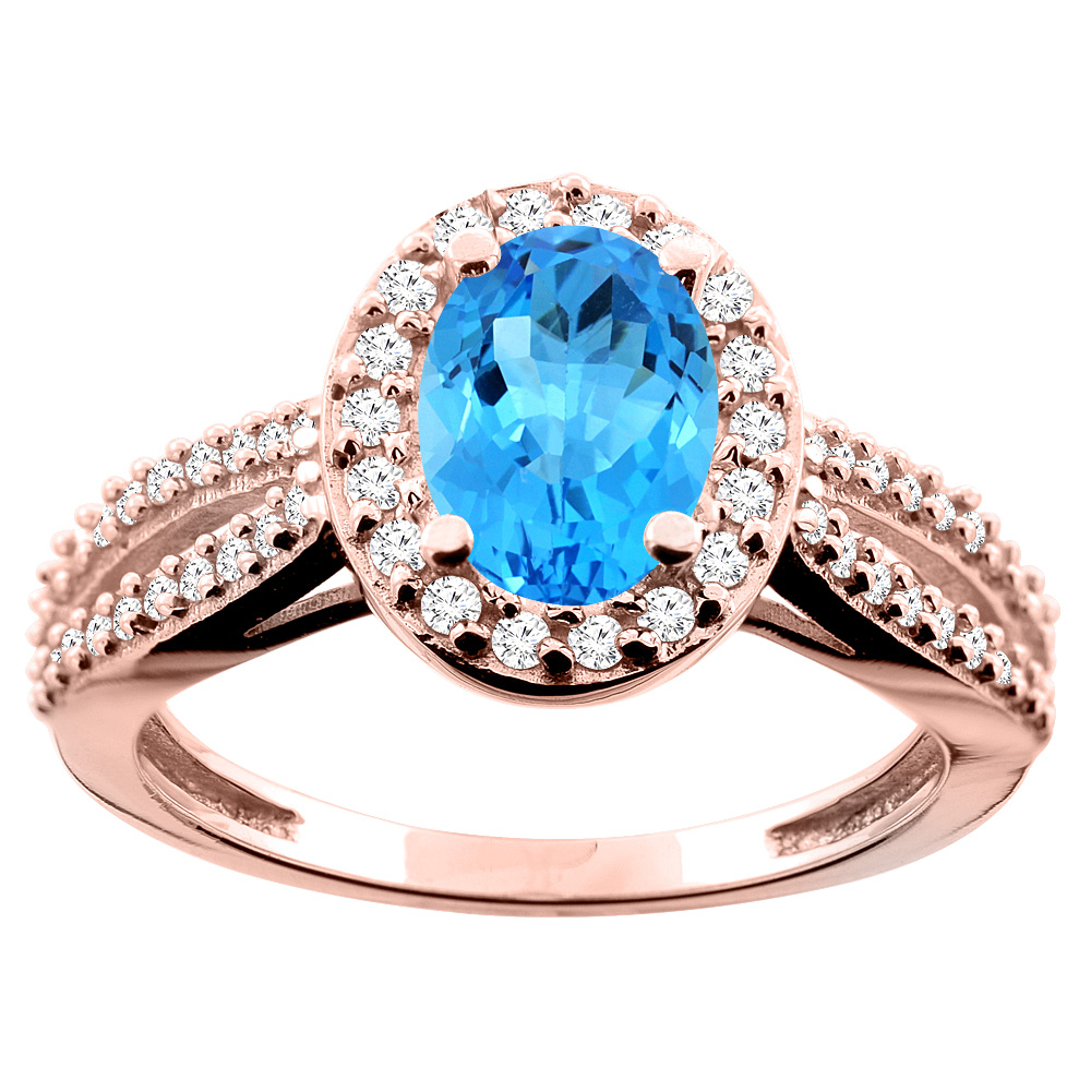 14K White/Yellow/Rose Gold Natural Swiss Blue Topaz Ring Oval 8x6mm Diamond Accent, size 5