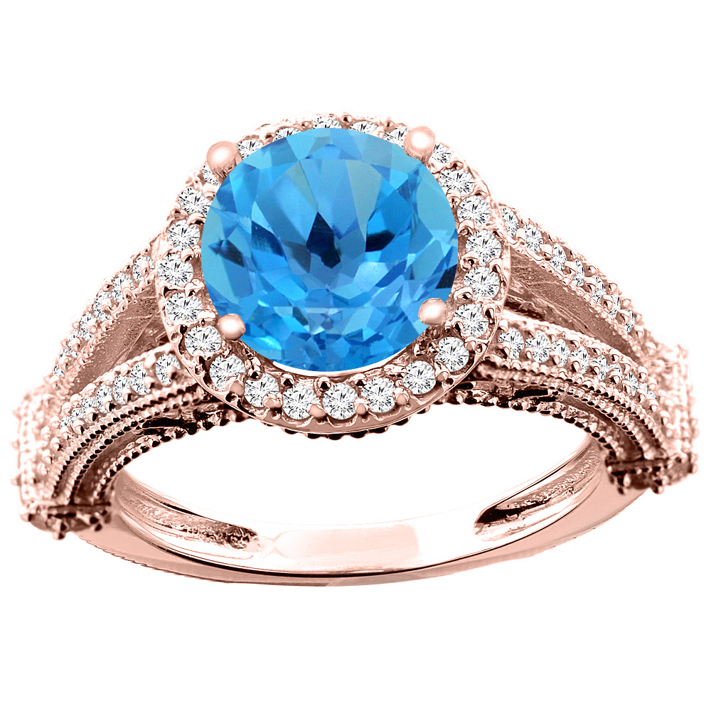14K White/Yellow/Rose Gold Natural Swiss Blue Topaz Ring Round 8mm Diamond Accent, sizes 5 - 10