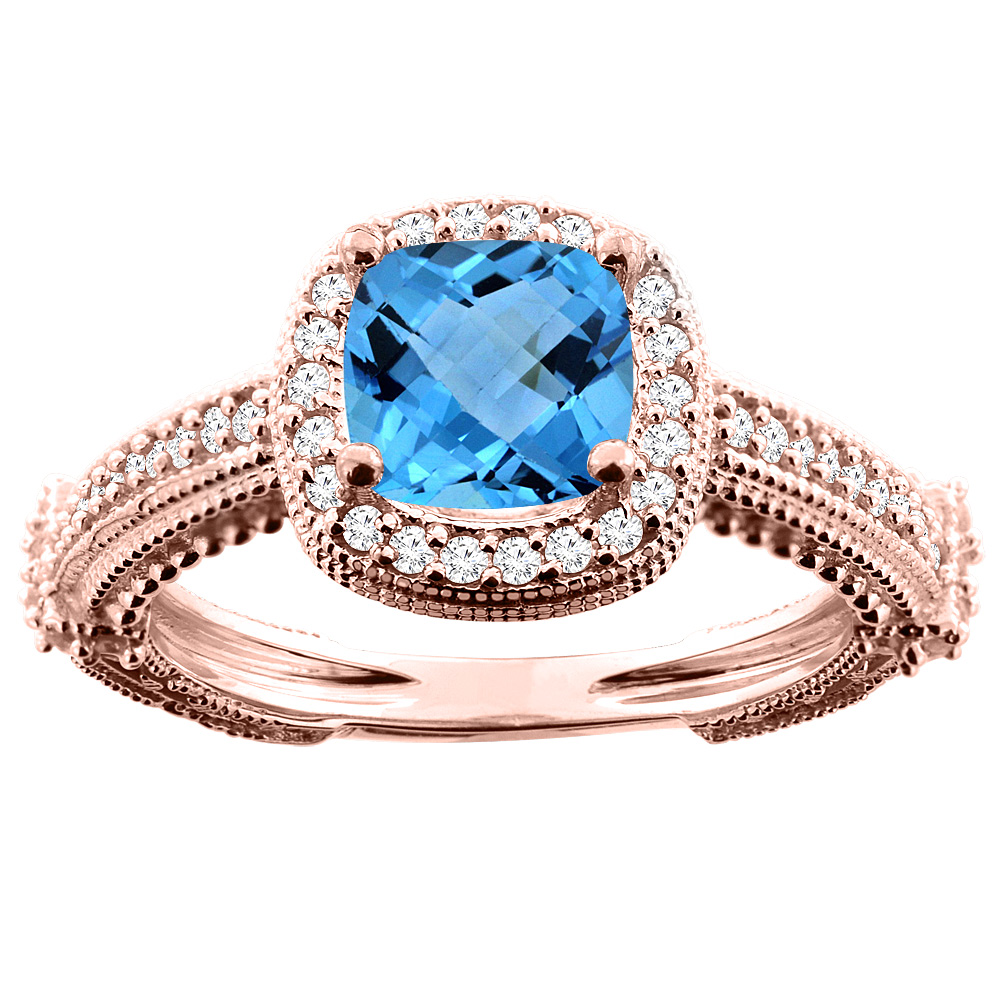 14K White/Yellow/Rose Gold Natural Swiss Blue Topaz Ring Cushion 7x7mm Diamond Accent, sizes 5 - 10