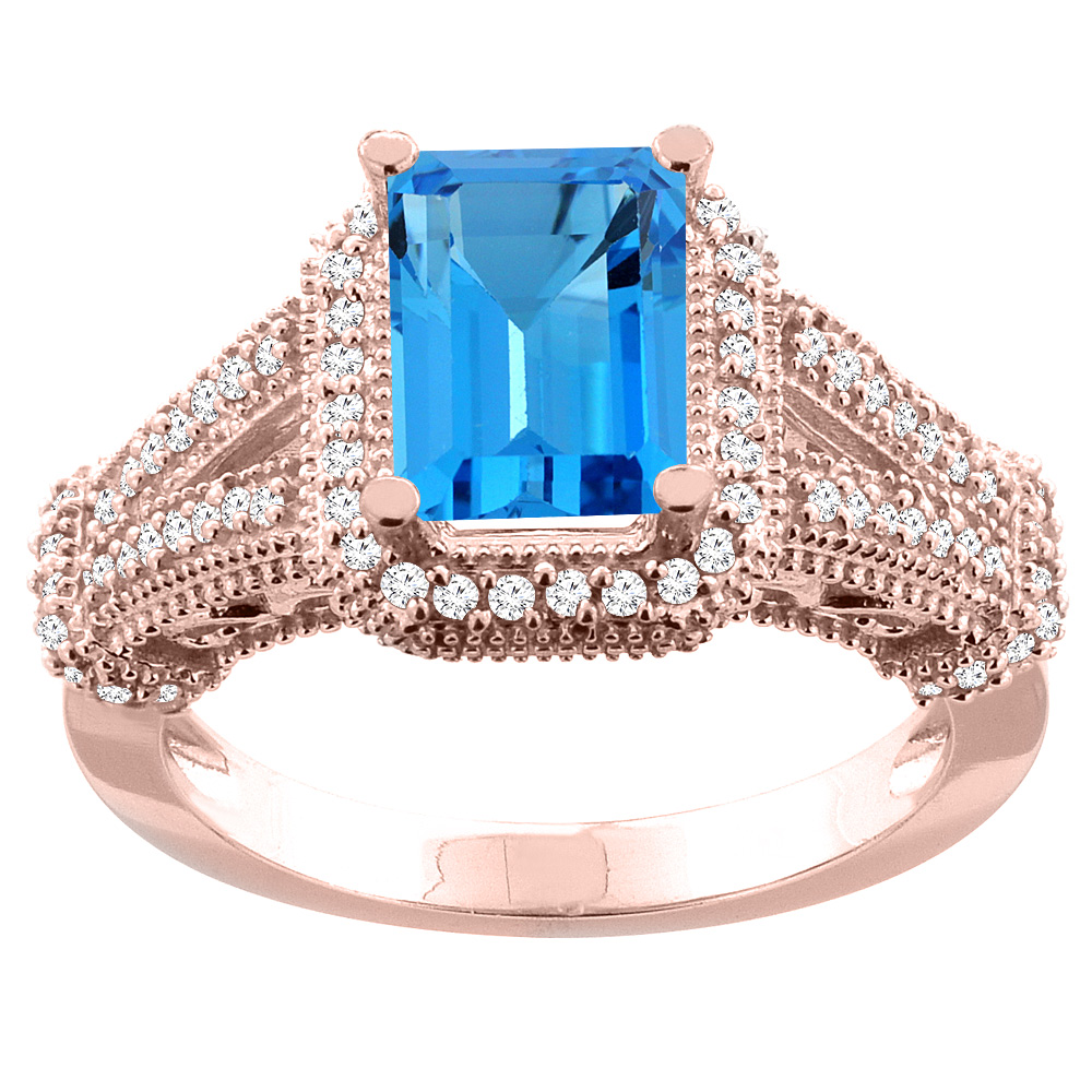 14K White/Yellow/Rose Gold Natural Swiss Blue Topaz Ring Octagon 8x6mm Diamond Accent, sizes 5-10