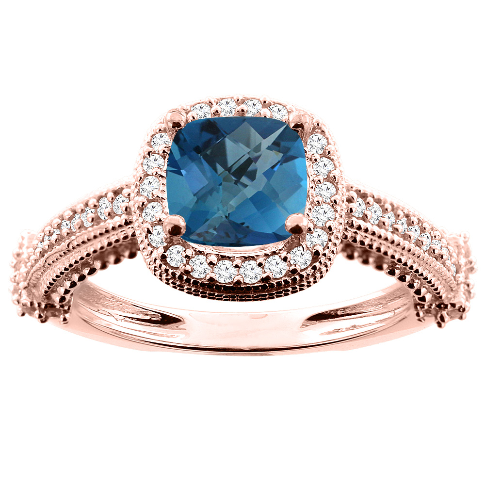 14K White/Yellow/Rose Gold Natural London Blue Topaz Ring Cushion 7x7mm Diamond Accent 7/16 inch wide, size 5