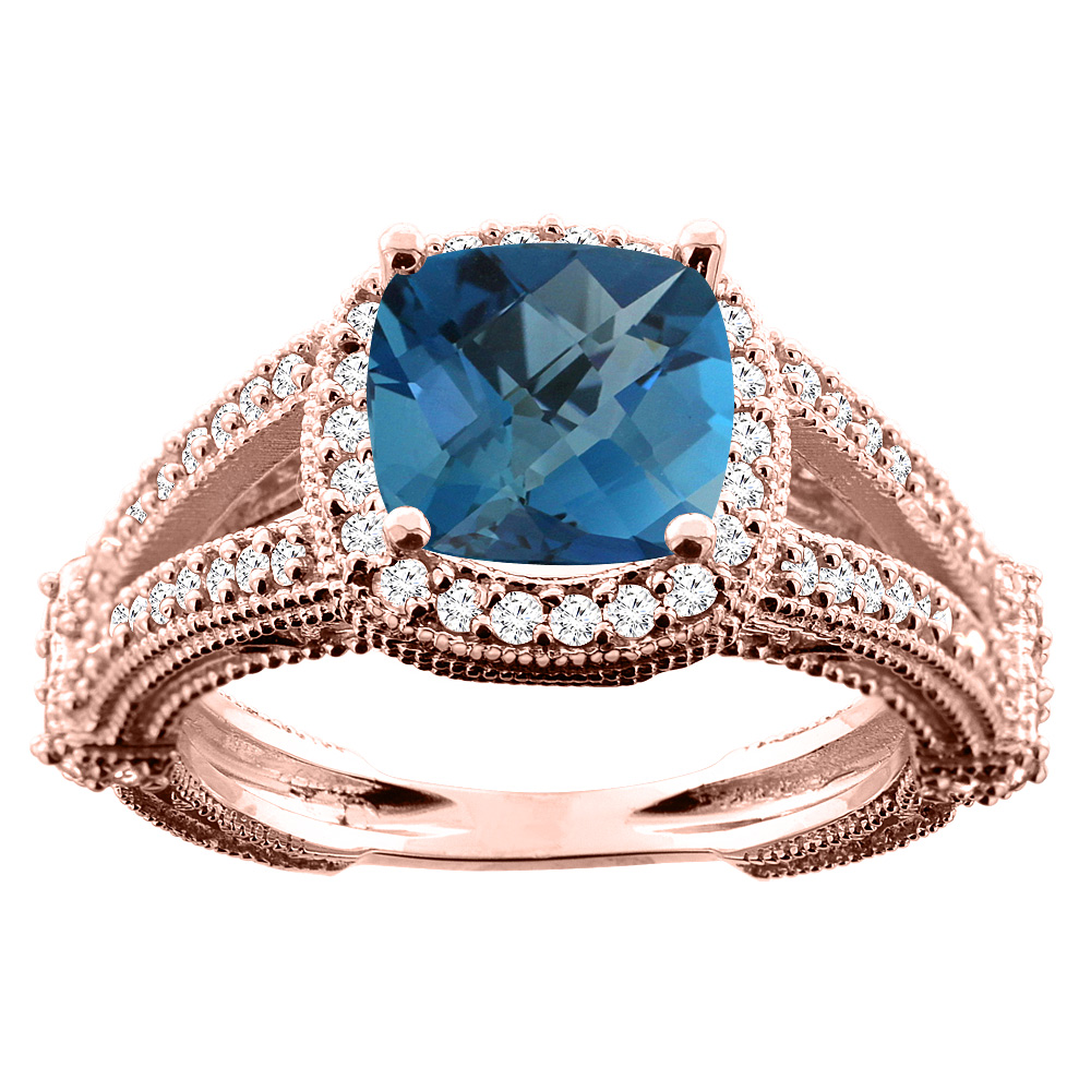 14K White/Yellow/Rose Gold Natural London Blue Topaz Cushion 8x8mm Diamond Accent 3/8 inch wide, size 5